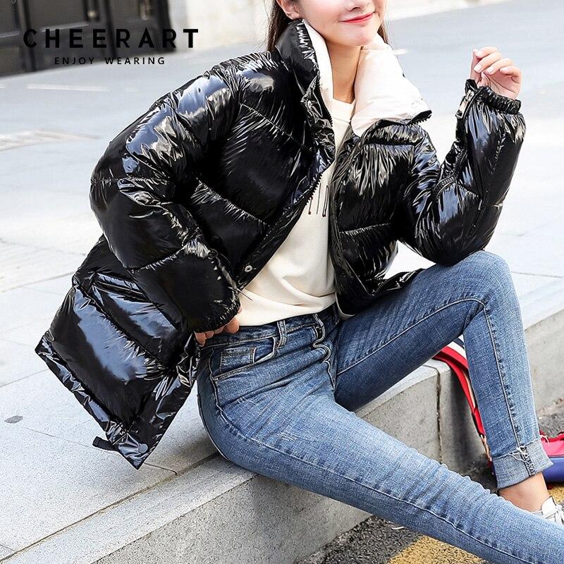 Cheerart 2018 Winter Jacket Women Parka Iridescent Bubble Coat Warm Puffer Jacket Overcoat Color Design Quilted Coat Winter