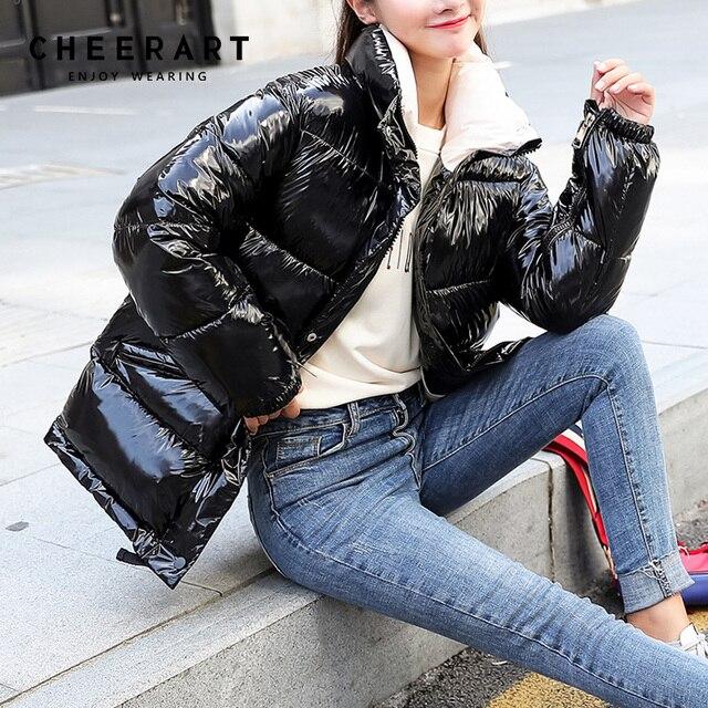 Cheerart 2018 Winter Jacket Women Parka Iridescent Bubble Coat Warm Puffer  Jacket Overcoat Color Design Quilted Coat Winter 46501b4459
