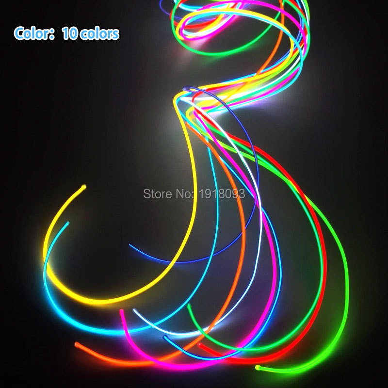 2017 New 1Meter 4pieces 10 colors Choice 2.3mm flexible EL wire rope tube Neon glowing LED Strip Toys for Party House decoration