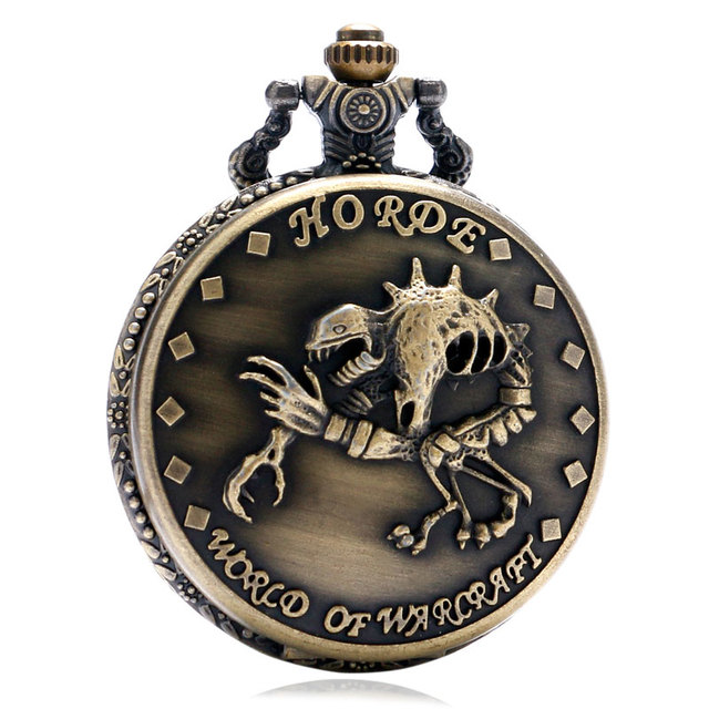 Retro Antique Bronze Pocket Watch WORLD OF WARCRAFT Horde Zombie Dinosaur Pattern Men Boys Necklace Pendant with Chain Gifts