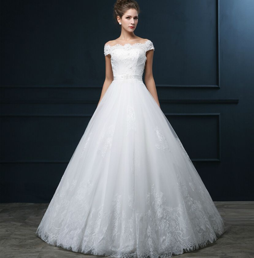 Aliexpress Buy White Lace Tulle Strapless Sleeveless Floor Length A Line Wedding Dress