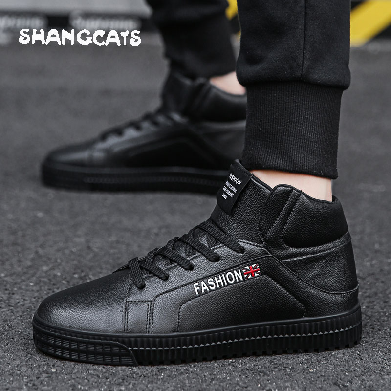 3a8eb332c5a9 Casual Sneakers men high top microfiber platform shoes brand fashion plaid  mens shoes black hot footwear male vulcanize shoes-in Men s Vulcanize Shoes  from ...