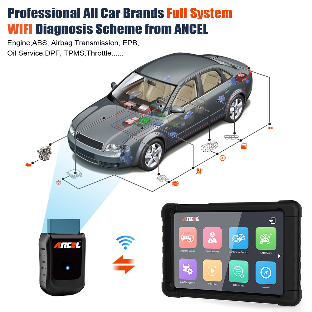OBD2 OBD Full System WIFI Auto Diagnostic Scanner Ancel X5 ABS SRS EPB DPF  Oil Service Reset Tool Professional Diagnostic Tool