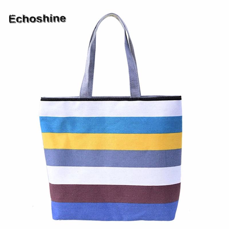 Excellent Quality Summer Style Vintage Canvas Bag Womens Shoulder Bags Ladies Beach Bag Strip Tote Purse Handbag A8