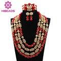 Lujoso Oro Base de Añadir Perlas de Coral Rojo Joyería Nupcial de La Boda establece Africana/Mujeres Collar de Perlas de Set Envío Libre CJ869