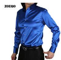 ZOEQO new fashion Men Slim fit High quality silk Long Sleeve tuxedo Shirts Mens dress Shirts camisa masculina camisa social