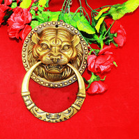 128*186mmBrass Chinese Vintage Lion Head Furniture Door Pull Handle