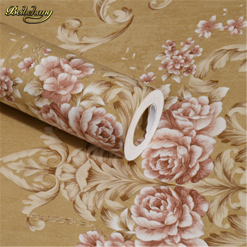 beibehang Ink blossom nonwovens wallpaper living room bedroom background wallpaper peony flowers rural pastoral papel de parede blossom flowers