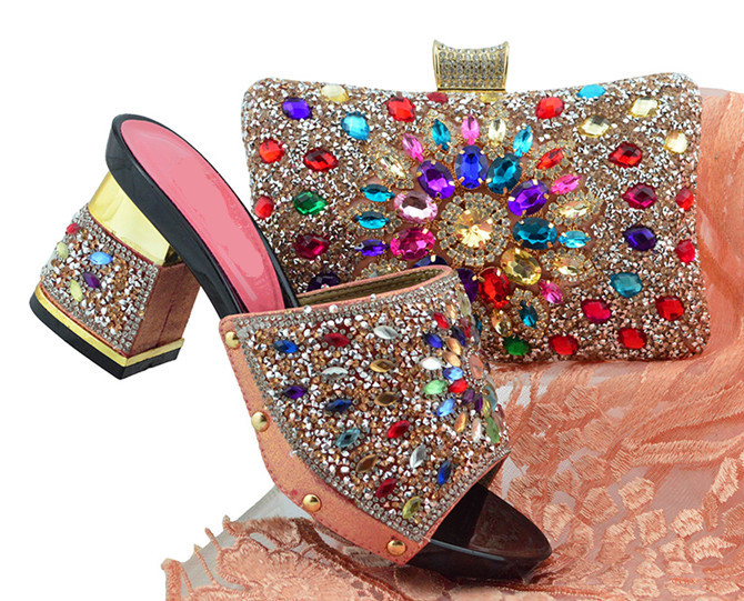 Nice Looking Peach African Women Shoes Matching Set With Crystal Design And Peach Color Bag For Dress FGT004