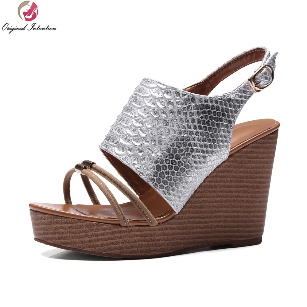 ФОТО Original Intention Stylish 2017 Women Sandals Open Toe Wedges Sandals Popular Black White Silver Shoes Woman US Size 3.5-10.5