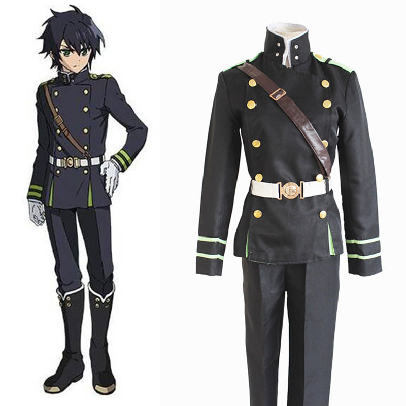 Anime Seraph of the end Yuichiro Hyakuya Cosplay Costumes Role Playing Clothes Coat Strap Belt  Pants  Military Uniform Suit-in Anime Costumes from Novelty & Special Use    1
