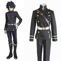 Anime Seraph of the end Yuichiro Hyakuya Cosplay Costumes Role Playing Clothes Coat Strap Belt Pants Military Uniform Suit