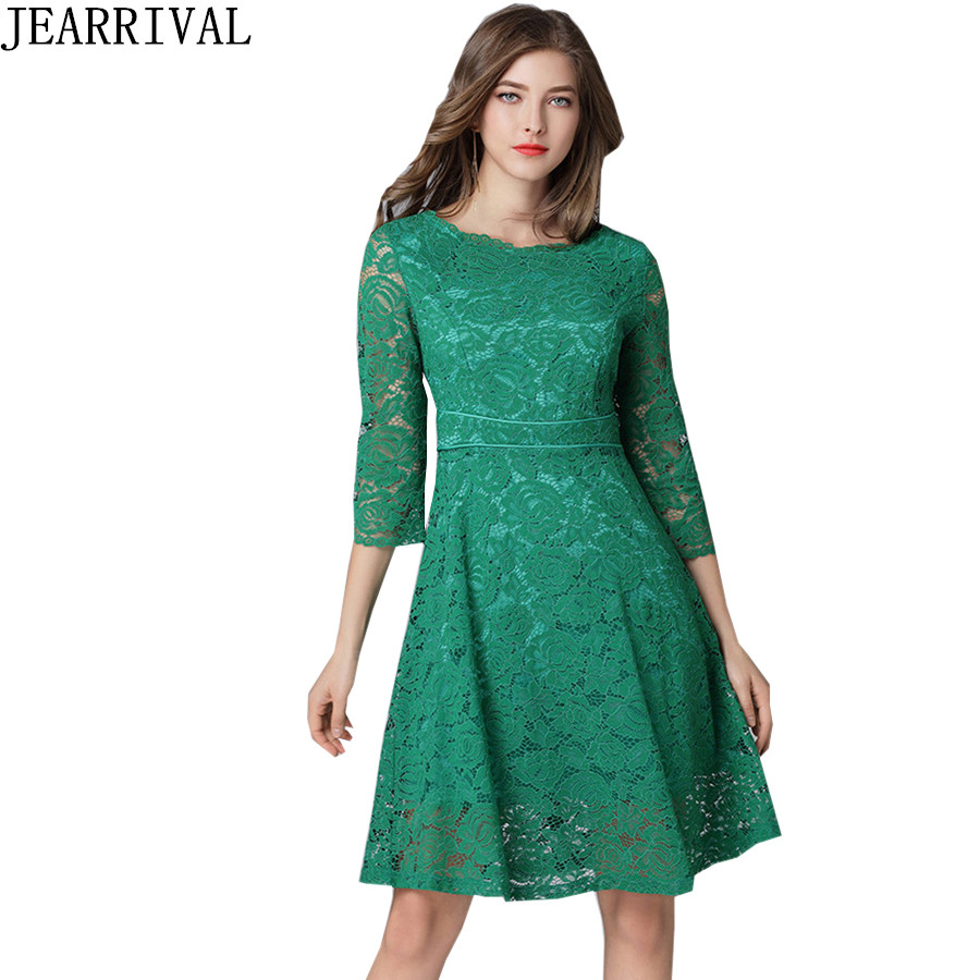 Femmes élégantes vert dentelle robe 2018 nouveau printemps mode évider décontracté bureau travail une ligne robe De soirée Vestidos De Festa