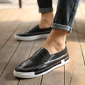 Hot Sale 2017 Men Shoes Autumn Man's PU Shoes Fashion Mens Casual Shoes Comfortable Sapatos Masculinos Slip-on Black Grey