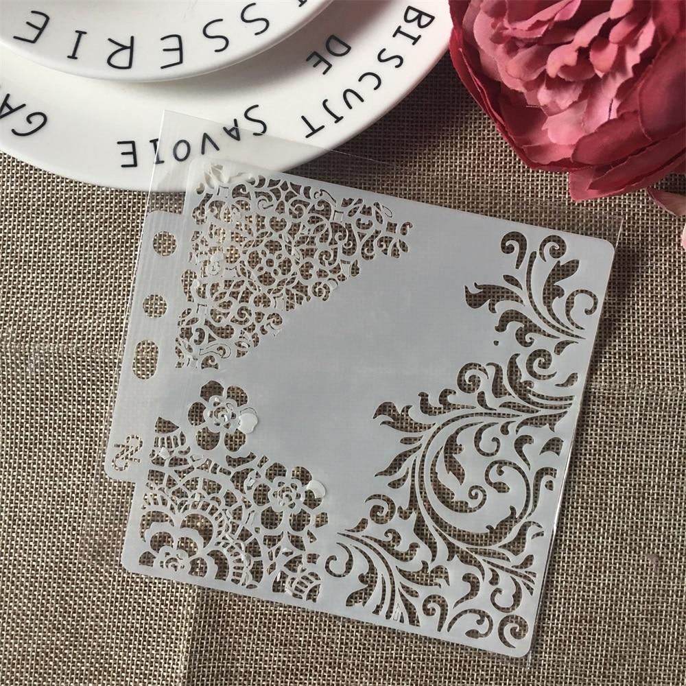 "1Pcs 13cm 5.1"" Flower Edge DIY Layering Stencils Wall Painting Scrapbook Coloring Embossing Album Decorative Paper Card Template"