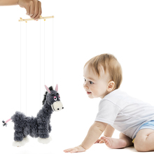 Pull String Hand Puppet Donkey Toys Cute finger puppets Clown Marionette Doll Toy Stuffed Joint Activity for children