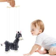 Puxar corda mão fantoche brinquedos de burro bonito dedo fantoches palhaço marioneta boneca brinquedo recheado joint atividade boneca brinquedos para crianças