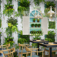 Fashionable Personality Potted Garden PVC Wallpaper Restaurant Cafe Hotel Background Wall Paper Waterproof Flowers Leaf 3D Decor