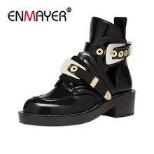 ENMAYER Buckle Ankle Boots for Women Fashion Cut out Gladiator Low Heel Shoes Motorcycle Spring Autumn Punk CR962