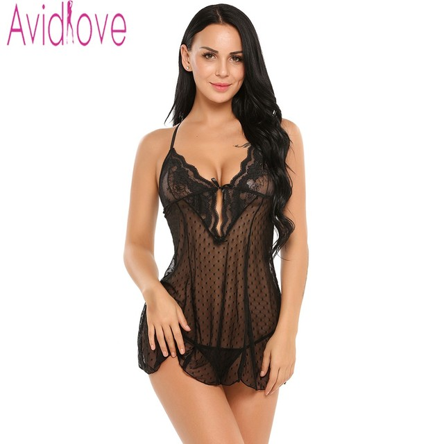 a73f9cbce Avidlove Sexy Lingerie Hot Erotic Pajamas Women Sexy Lace Nightwear Dress Underwear  Lace Sleepwear Black Baby Doll Bath Robe