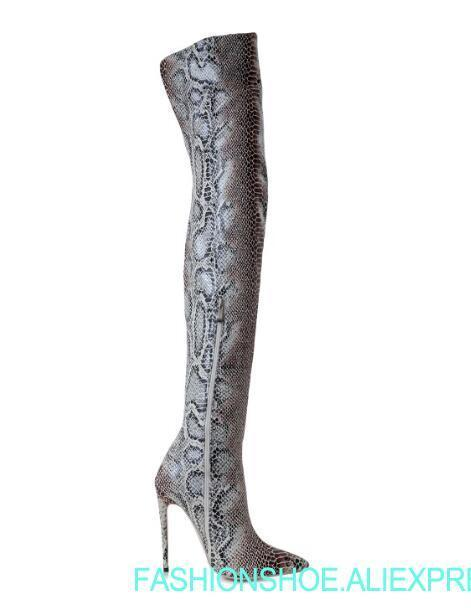 2018 New Pointed Toe Snake Print Thin High Heels Thigh High Women Long Boots Winter Lady Over The Knee High Boots 42 custom make цена