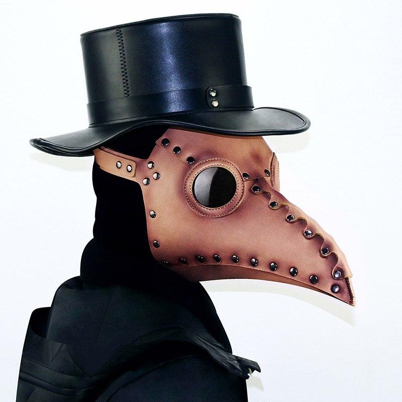 Cuir synthétique polyuréthane marron Vintage peste oiseau masque Halloween Anime Cosplay accessoires gothique maquillage fête masques adultes Steampunk accessoires