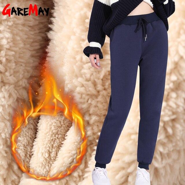 cbd3c9755 Calças Femininas de inverno Quente de Lã Grossa Moletom Cintura Alta Plus  Size Casuais Calças de