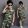 Modo de Moda das crianças do verão menino roupas de camuflagem de manga curta T-shirt e short set crianças menino T-Shirt roupas esportes ao ar livre