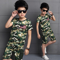summer Fashion children mode boy camouflage clothes short sleeve T-shirt and short set kids boy outdoor sports T-Shirt clothing