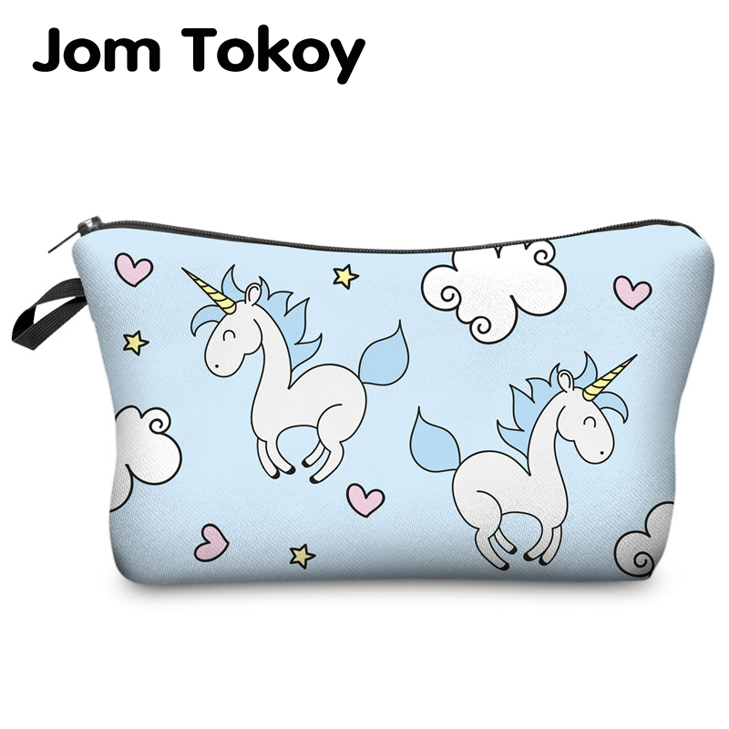 Bolsa de cosméticos con estampado de unicornio Jom Tokoy patrón Multicolor bolsas de cosméticos lindos para viaje para mujer bolsa de maquillaje