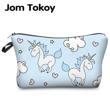 Jom Tokoy Printing Unicorn Cosmetic Bag Multicolor Pattern Cute Cosmetics Pouchs For Travel Ladies Pouch Women Makeup Bag