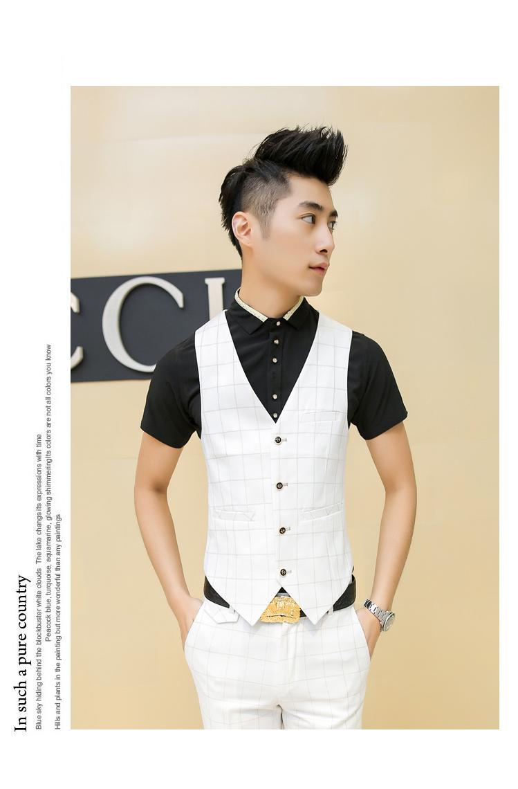 9c151f4bc676 2016 Summer Men Plaid Suit White Blue Check Suit For Men Dress Suit ...