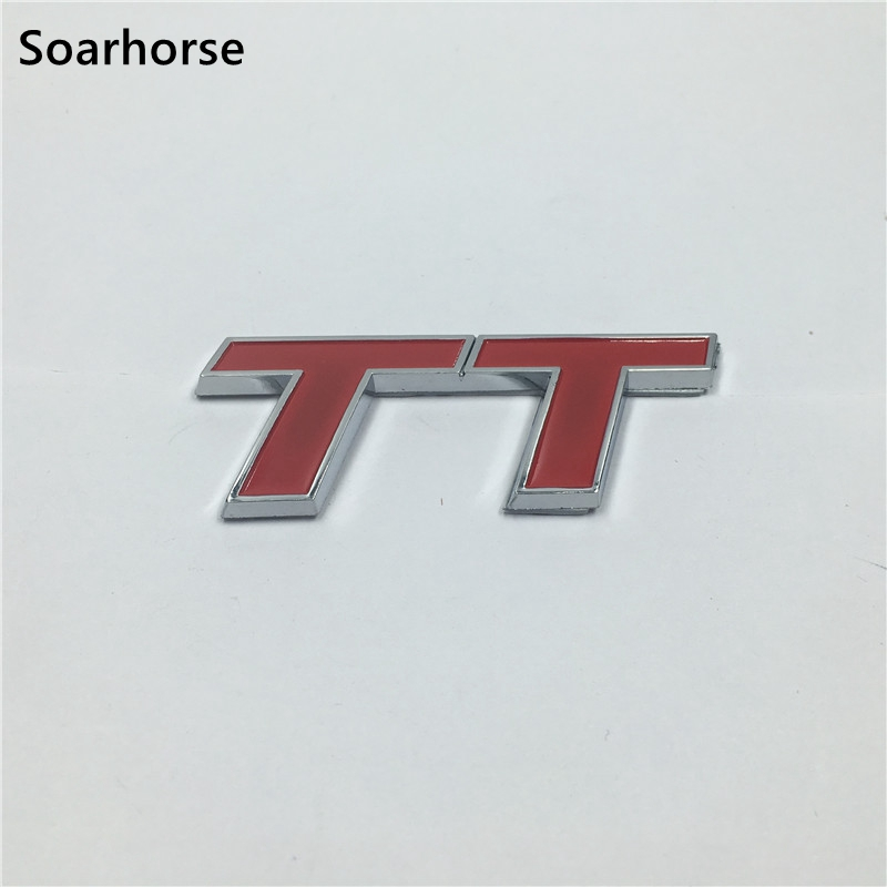 Soarhorse Car Chrome Badge Emblem Red TT Plastic Auto Rear Trunk Lid Sticker For Audi TDI TFSI RS TTS V6 Quattro auto chrome for 2008 2013 genesis front rear wing emblem badge sticker