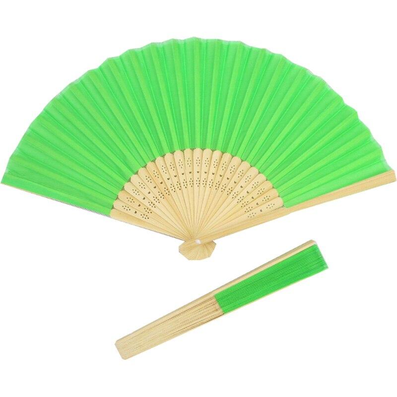 10pcs 녹색 접는 실크 핸드 팬 프로 모션 선물