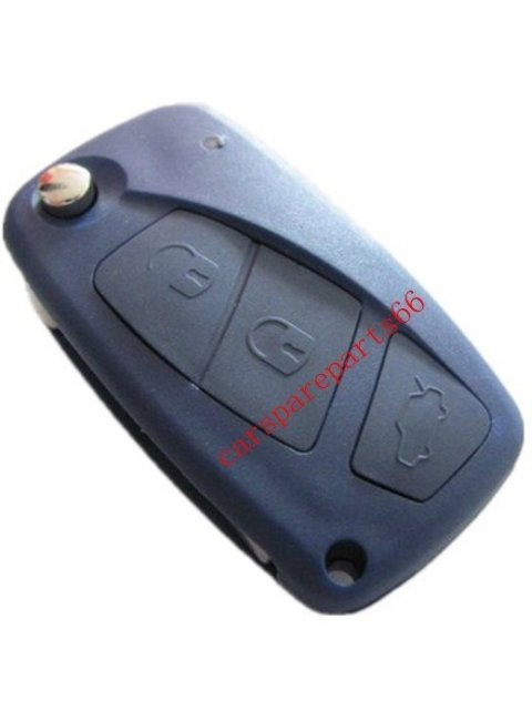 Free shipping ! fast delivery 10pcs/lot new uncut 3 buttons Fiat flip remote key shell (blue)