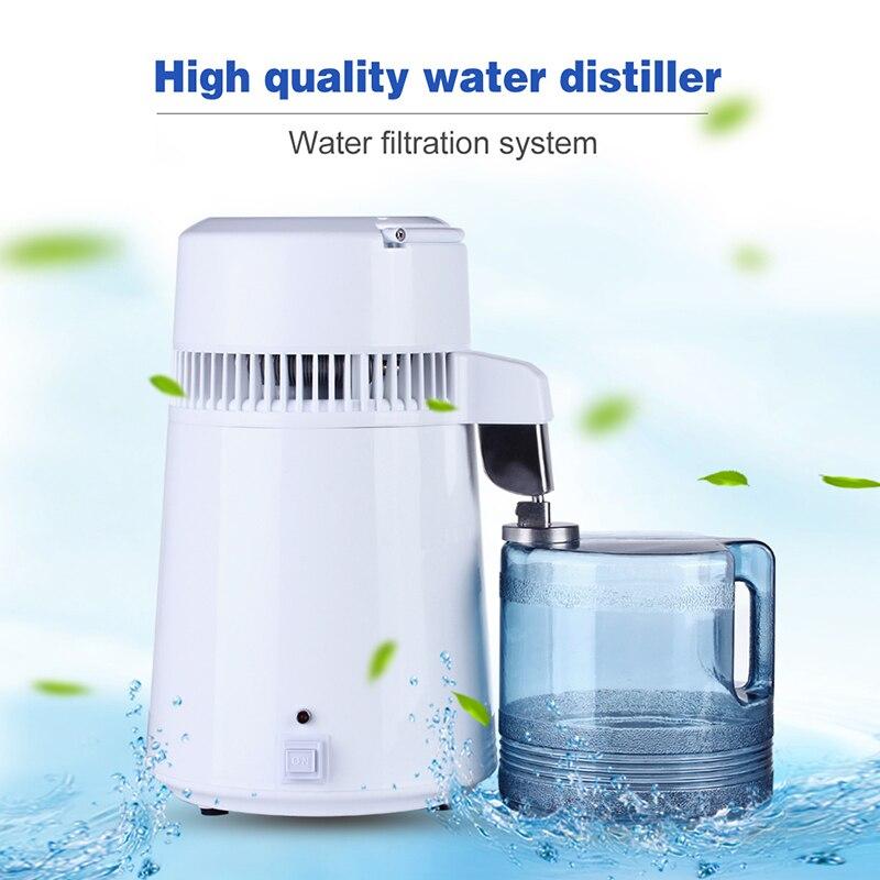 4L Главная Чистая вода дистиллятор фильтр дистиллированная машина зубная Дистилляция очиститель оборудование нержавеющая сталь пластик ку...
