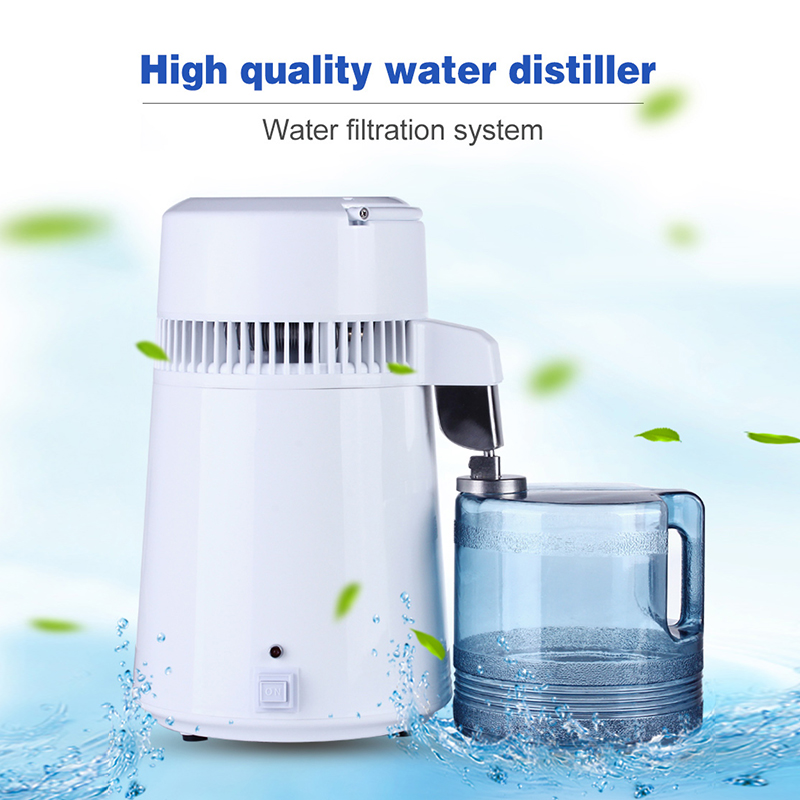 Home Pure Electric Water Distiller Filter Machine Distillation Purifier Stainless Steel Plastic Jug Dental Clinic and Laboratory