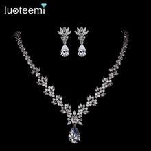 LUOTEEMI Venta Caliente de Lujo Elegante Blanco Plateó Shining Clear CZ Collar de Flores de Cristal para Las Mujeres Joyería de La Boda
