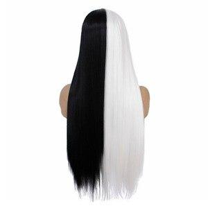 Image 4 - VNICE peluca recta de encaje atado a mano, Mitad negro de Color medio blanco, peluca sintética de alta temperatura con malla frontal para Cosplay para mujer