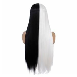 Image 4 - VNICE نصف أسود نصف أبيض اللون اليد تعادل الدانتيل الجبهة مستقيم شعر مستعار ارتفاع درجة الحرارة الاصطناعية الدانتيل شعر مستعار أمامي للنساء تأثيري