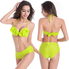 High Quality Small Flounced Top Cup Sexy Women Young Girls all Female Vintage High waist Bikinis