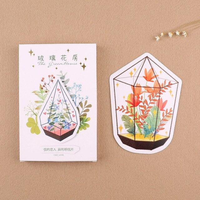 30 Pcslot Flowers In Green House Light Shape Heteromorphic Postcard