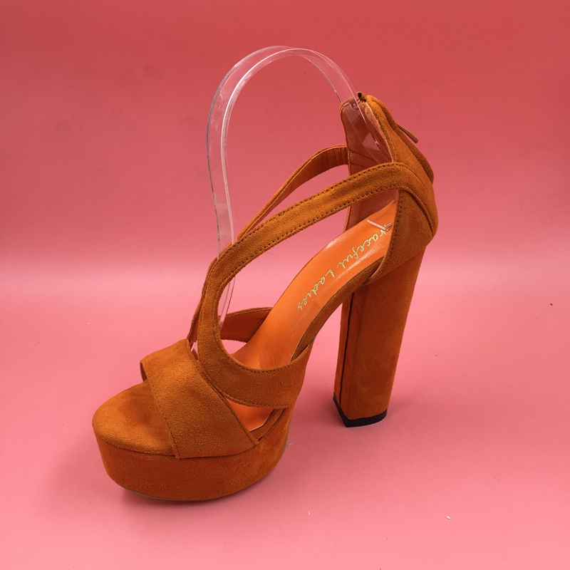 Orange Women Sandal Platforms Chunky Heels Sandal Open Toe Custom Colors True To US Size 13 Woman Shoes 2016 Summer
