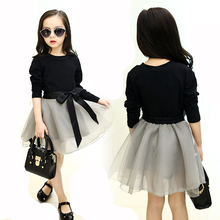2018 New Spring Baby Girls Clothes Children Clothing Set Black Blouse + Tutu Skirt Two-piece Set Princess Kids Colthes Age 3-15Y(China)