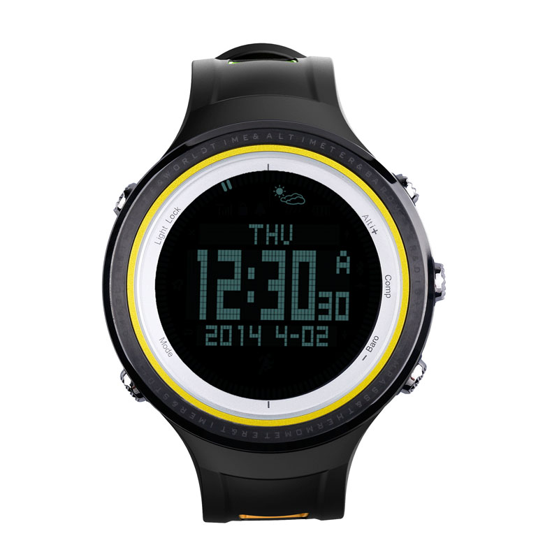 SUNROAD FR800NB Outdoor Sports Men Watch-Stopwatch Digital Altimeter Barometer Compass Pedometer Watch For Sports Fan (Yellow) sunroad 2018 new arrival outdoor men sports watch fr851 altimeter barometer compass pedometer sport men watch with nylon strap