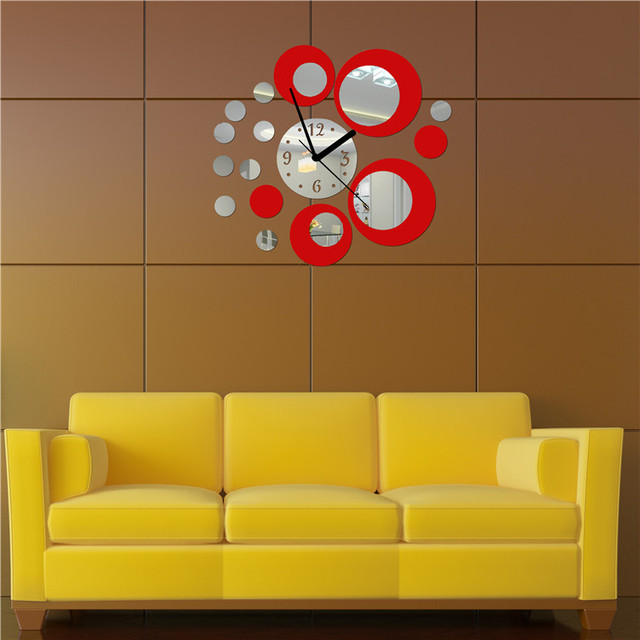 Hot New Hot Acrylic Clock Design Mirror Effect Mural Wall Sticker