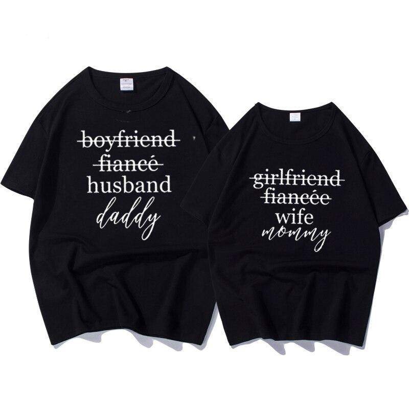 1353bf36 Female T-shirtt Couples T-shirts Funny Matching Wedding Top Tee Couple  Tshirt Cotton