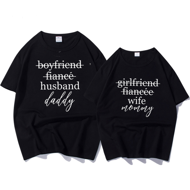 bc886d10 Female T-shirtt Couples T-shirts Funny Matching Wedding Top Tee Couple  Tshirt Cotton for Lover Honeymoon Shirts Women's Shirts