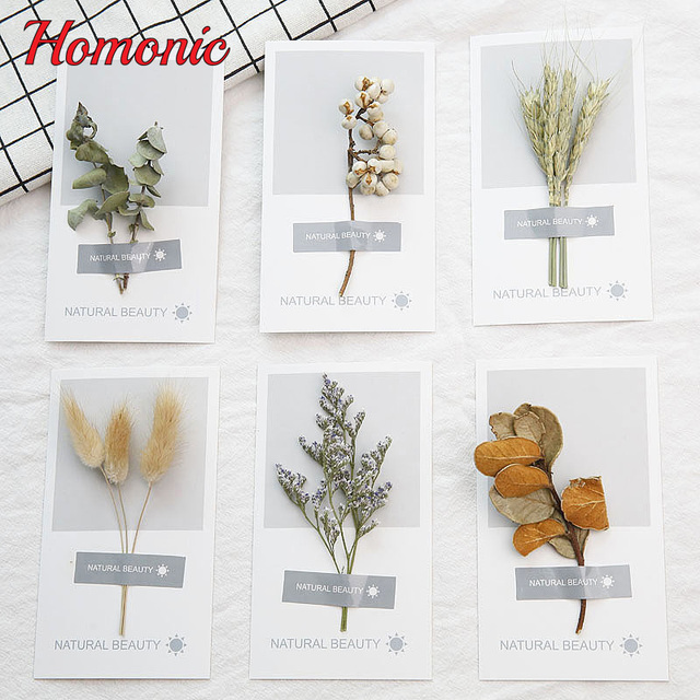 10pcs DIY Dried Flowers Thank You Cards Postcard Greeting ...