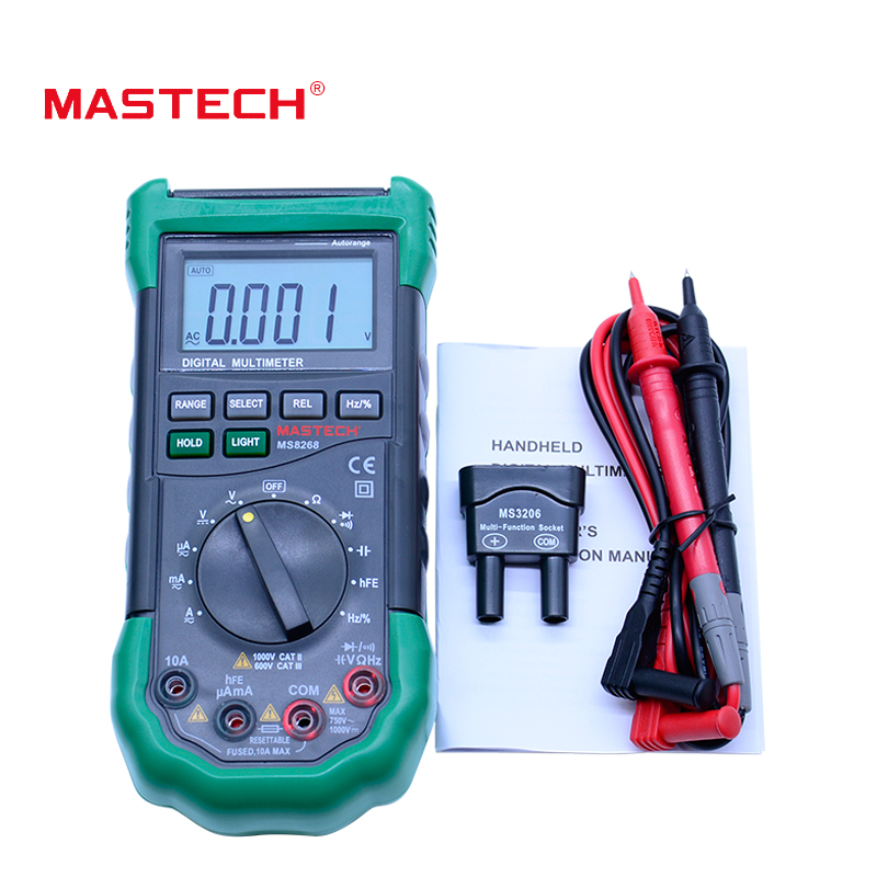 MASTECH MS8268 Digital Multimeter Auto Range protection ac/dc ammeter voltmeter ohm Frequency electrical tester diode detector orange plastic case digital lcd voltmeter ammeter ohm meter multimeter lead